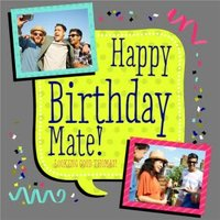 Colourful Caption Happy Birthday Multi-Photo Card, Large Square Card Size By Moonpig