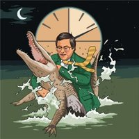'Celebrity Wrestling Alligator Clock Just A Note Card , Square Size By Moonpig
