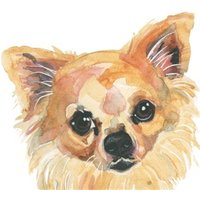 Illustrated Watercolour Chihuahua Dog Just A Note Card, Large Square Card Size By Moonpig