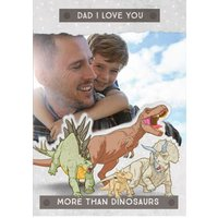 Father's Day Card - Dad Jurassic World Dinosaurs Photo Upload Card, Large Size By Moonpig