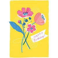 Cute Illustrated Happy Birthday Card, Standard Size By Moonpig