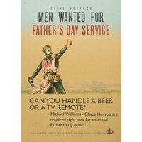 Men Wanted For Fathers Day Service Card, Large Size By Moonpig