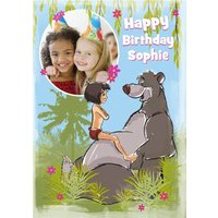 Disney The Jungle Book Mowgli And Baloo Personalised Photo Upload Birthday Card, Giant Size By Moonp
