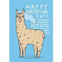 Happy Wedding Day Llama Card, Standard Size By Moonpig