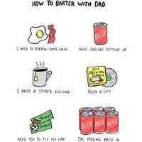 How To Barter With Dad Father's Day Card, Standard Size By Moonpig