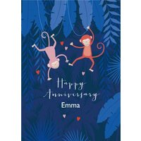 Cute Illustrative Monkey Anniversary Card, Large Size By Moonpig