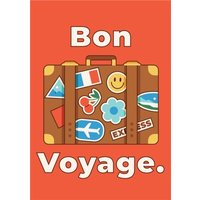 'Bon Voyage Stickered Suitcase Leaving Card, Large Size By Moonpig