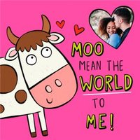 Illustration Cow Moo Mean The World Photo Upload Card, Square Card Size By Moonpig