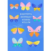 Illustrated Butterflys Beautiful Birthday Wishes Card, Large Size By Moonpig