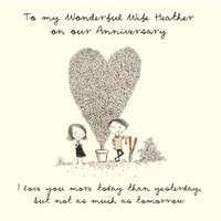 I Love You More Today Than Yesterday Personalised Happy Anniversary Card For Wife, Square Size By Mo