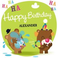 Cartoon Giggles Personalised Kids Birthday Card, Square Card Size By Moonpig