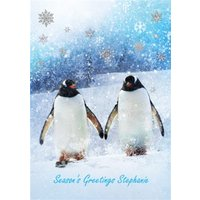 Penguin Christmas Card, Large Size By Moonpig
