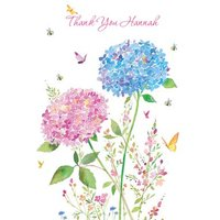 Watercolour Flowers Personalised Thank You Card, Large Size By Moonpig