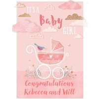 Baby Girl Congratulations Postcard, Postcard Size By Moonpig