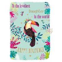 Birthday Card - Daughter Loveliest In The World Tropical, Standard Size By Moonpig