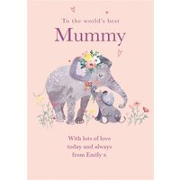 Cute Elephant To The World's Best Mummy Mother's Day Card , Large Size By Moonpig