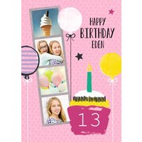 Bright Pink Balloons And Cupcake Happy Birthday Photo Card, Large Size By Moonpig