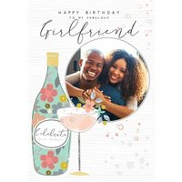 Illustrated Champagne And Glass Girlfriend Birthday Card, Large Size By Moonpig