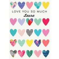 Illustrated Love Hearts You So Much Valentine's Day Card, Large Size By Moonpig