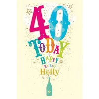 Popping Bottle With Stars Personalised Happy 40th Birthday Card, Giant Size By Moonpig