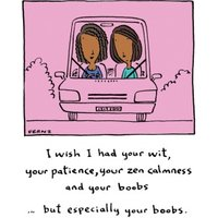 Illustrated Female Friends I Wish Had Your Boobs Pink Birthday Card, Standard Size By Moonpig