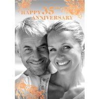Coral Foiled Flowers 35th Anniversary Photo Upload Card , Standard Size By Moonpig