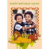Disney Lion King Happy Birthday Photo Card - Simba, Timon And Pumba, Large Size By Moonpig