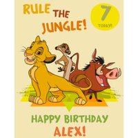 Disney Lion King Happy Birthday Card - Rule The Jungle 7 Today, Large Size By Moonpig