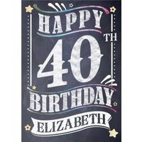 40th Birthday Card - Chalkboard Design, Giant Size By Moonpig
