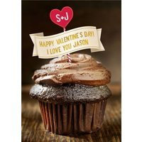 Happy Valentines Day Chocolate Cupcake Card, Giant Size By Moonpig