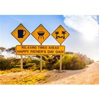 Road Signage Beer BBQ Relax Father's Day Card, Standard Size By Moonpig