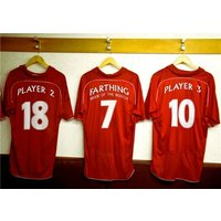 Red Football Shirts In A Changing Room Personalised Happy Birthday Card, Giant Size By Moonpig