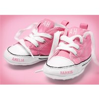 New Baby Congratulations Postcard - Pink Shoes With Name, Size By Moonpig