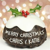 Christmas Pudding With Message Personalised Merry Card, Large Square Card Size By Moonpig