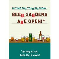 Funny Covid Beer Gardens Are Open Birthday Card, Large Size By Moonpig