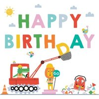 Cute Illustrated Digger Birthday Card, Square Card Size By Moonpig