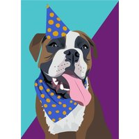 Illustrated Party Hat Boxer Card, Large Size By Moonpig