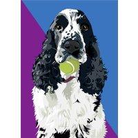 Illustrated Tennis Ball Cocker Spaniel Card, Standard Size By Moonpig