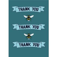 Illustrated Bees Thank You Card, Giant Size By Moonpig