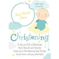 Baby And Clouds With Love Personalised Photo Upload Christening Card, Giant Size By Moonpig