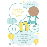 Baby Is One Personalised Photo Upload Birthday Card, Large Size By Moonpig