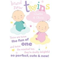 Brand New Twins Baby Card, Large Size By Moonpig