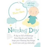 Cartoon Baby In The Clouds Naming Day Photo Card, Giant Size By Moonpig