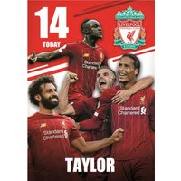 Liverpool FC Football Club 14 Today Birthday Card, Giant Size By Moonpig