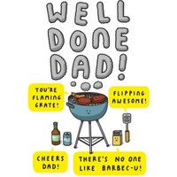 Mungo And Shoddy Well Done Dad Youre Flaming Grate BBQ Fathers Day Card, Standard Size By Moonpig