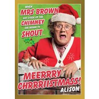 Funny Mrs Brown's Boys Up A Chimney Christmas Card, Standard Size By Moonpig