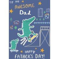Crocodiles Skateboarding Illustration Father's Day Card, Standard Size By Moonpig