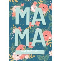 Mama Illustrated Floral Card, Large Size By Moonpig