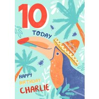 Colourful Illustrated Tropical Toucan 10th Birthday Card, Large Size By Moonpig