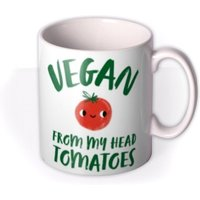 Typographic Cute Vegan From My Head Tomatoes Mug by Moonpig, Gift Set - Delivery Available